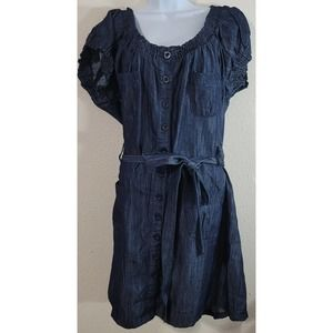 Roommates Blue Chambray Denim Button Front Dress